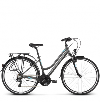 Велосипед Kross Trans 1.0 (2019) Graphite/Sky Blue/White Matte