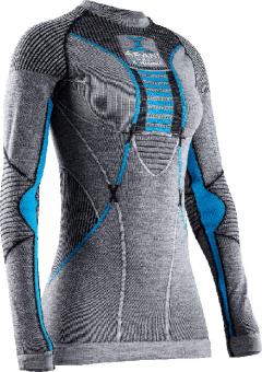Термобелье X-Bionic кофта Apani 4.0 Merino Shirt Round Neck LG SL WMN Black/Grey/Turquoise