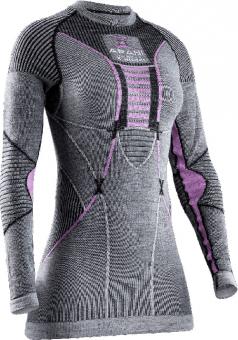 Термобелье X-Bionic кофта Apani 4.0 Merino Shirt Round Neck LG SL WMN Black/Grey/Pink