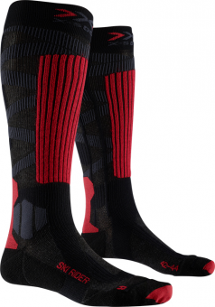 Термоноски X-Socks Ski Rider 4.0 Dark Grey Melange/Red Black