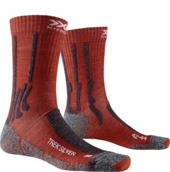 Носки X-Socks Trek Silver Crimson Red/Dolomite Grey